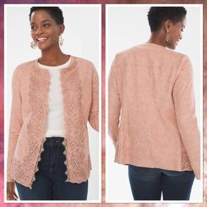 Chico's Perforated Faux Suede Jacket 12 14 Pink